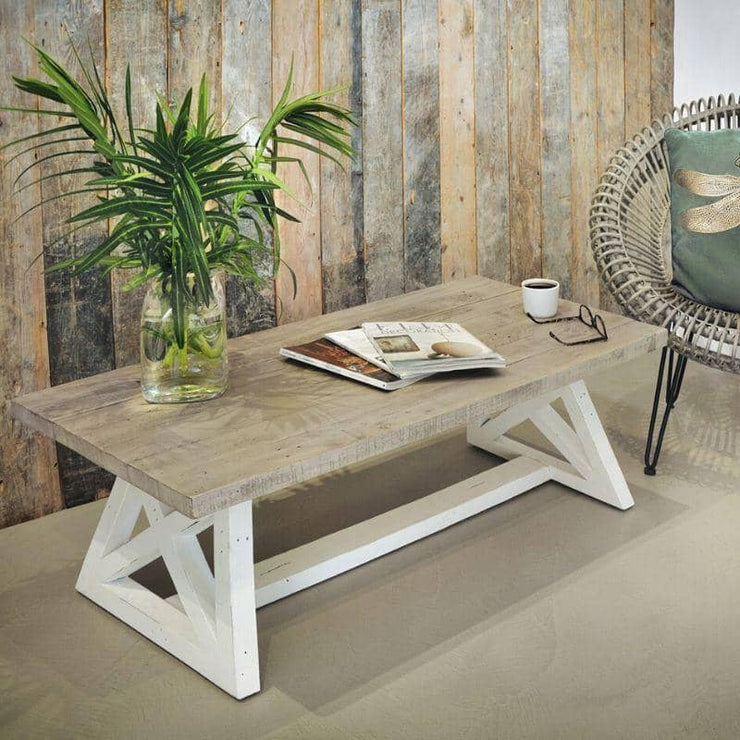 White painted Abingdon Reclaimed Wood Coffee Table with magazines and flowers