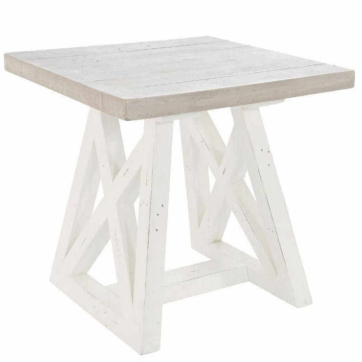 Abingdon Reclaimed Wood Lamp Table painted white