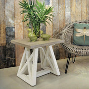 White Painted Reclaimed Wood Side Table with plants