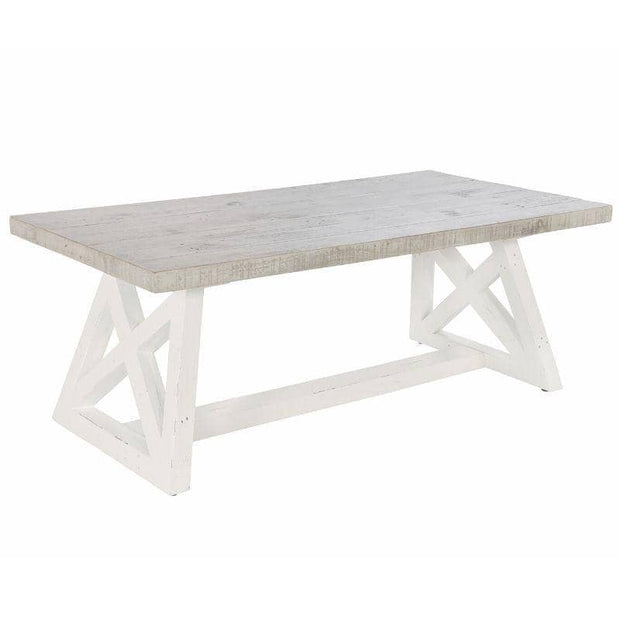 Abingdon Reclaimed Wood Trestle Dining Table painted white