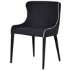 Alicia Black Upholstered Dining Chair with white piping