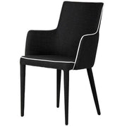 Alicia Grand Black Upholstered Dining Chair with Black Legs and White Piping