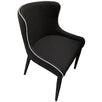 Black Upholstered Dining Chair with White Piping and Black Legs