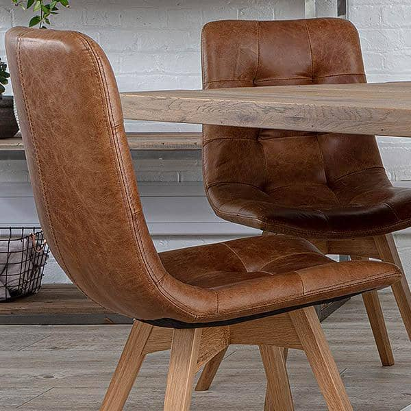 Allegro Brown Leather Dining Chairs