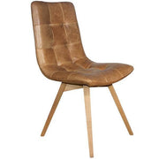 Brown Leather Dining Chair with Wooden Legs