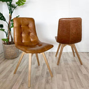 Allegro Brown Leather Oak Dining Chairs (pair) | Modish Living