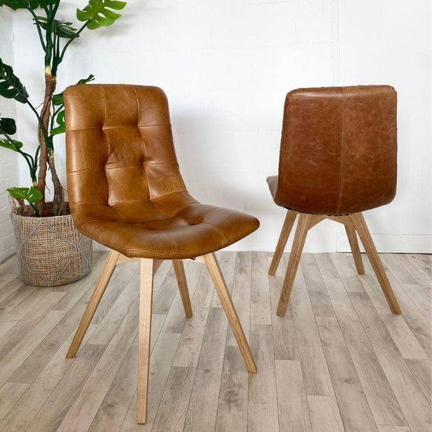 Pair of Allegro Brown Leather Dining Chair
