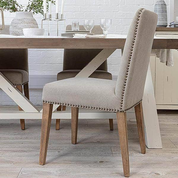 Ambrose Upholstered Dining Chair with Wooden Legs