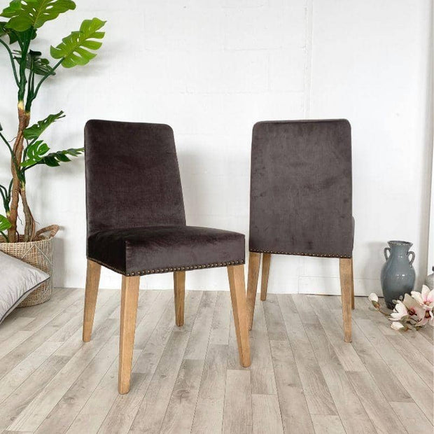 Pair of grey velvet ambrose chairs