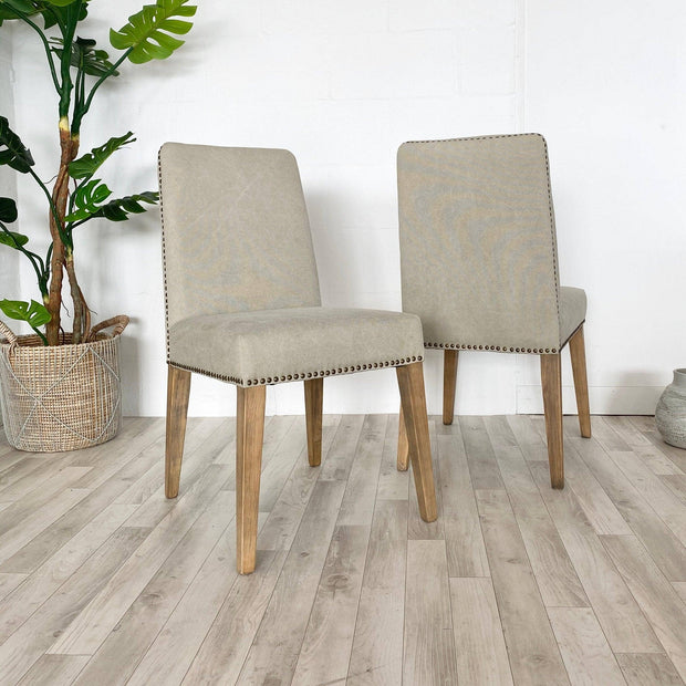 pair of cement coloured linen ambrose dining chairs