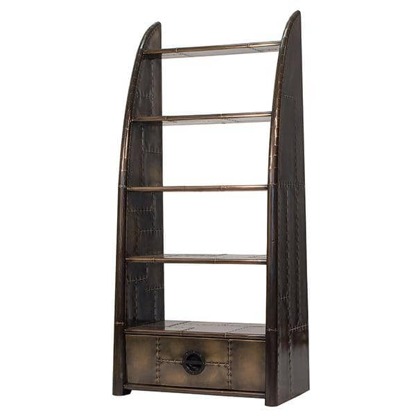 Vintage and aviator style bookcase in brass