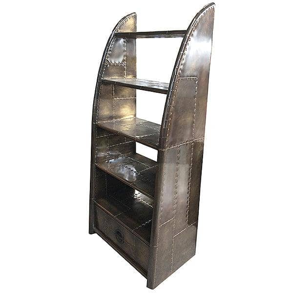 Aviator Vintage Jet Brass Bookcase Side