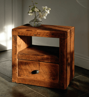 Cube Reclaimed Wood Bedside Table with Drawer - Modish Living