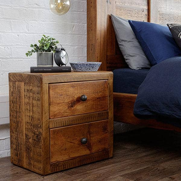 Beam Reclaimed Wood Bedside Table - Double Drawer
