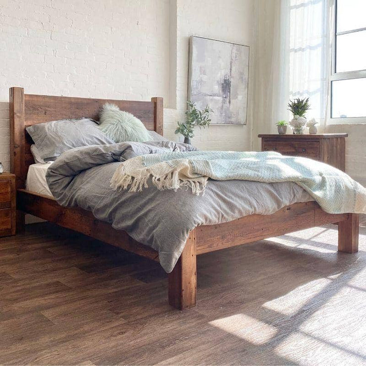 Reclaimed Wood Bed in bedroom