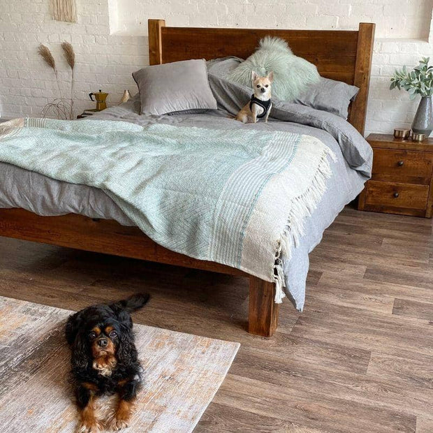 King Size Reclaimed Wood Bed with dogs on the bed