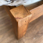 close up of reclaimed wood footboard