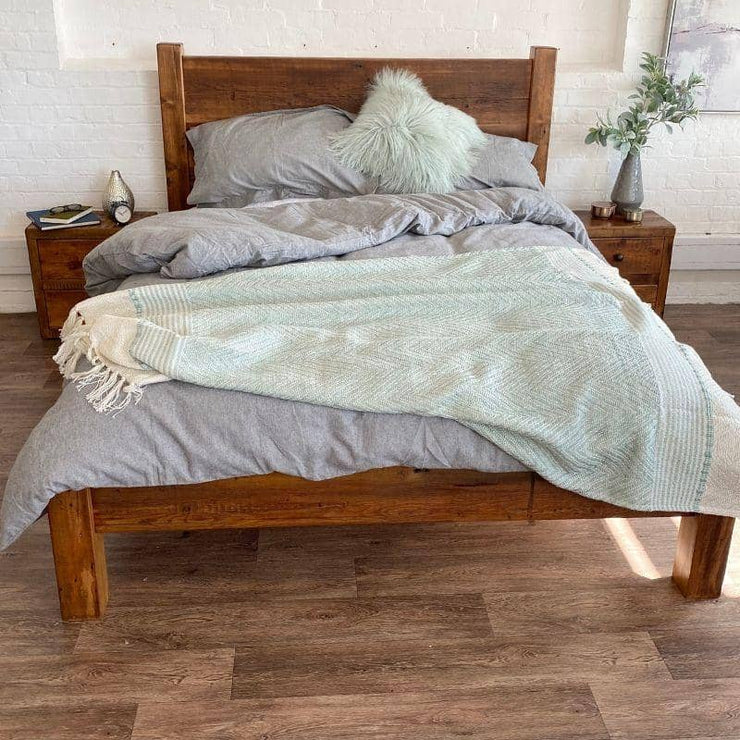 Beam Buckingham Reclaimed Wood Bed with Grey Bedding