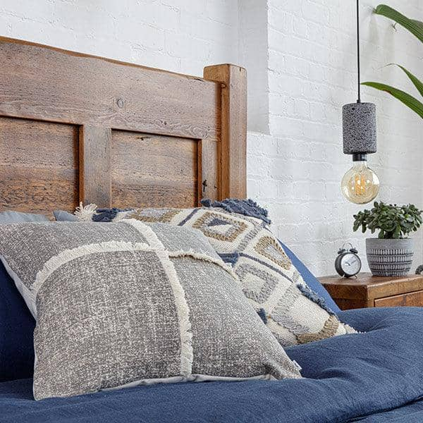 Reclaimed Wood Headboard Close Up with cushions