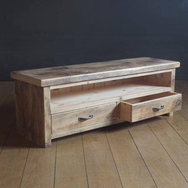 Beam Reclaimed Wood TV Unit with 2 Drawers