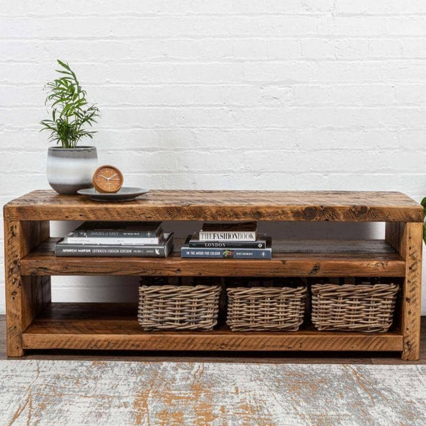 Beam Reclaimed Wood Open Shelf TV Unit