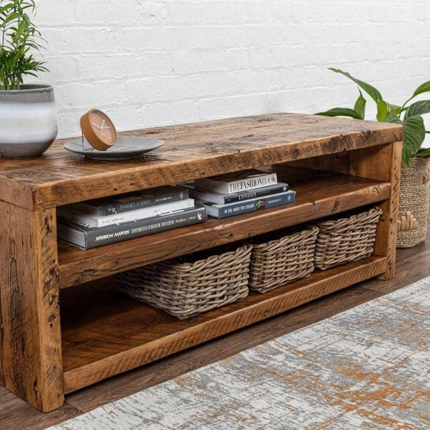 Side view of Beam Reclaimed Wood TV Stand