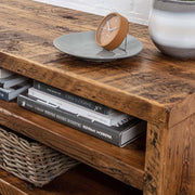 Close up of Beam Reclaimed Wood TV Stand