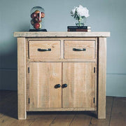 A Small Reclaimed Wood Sideboard with two doors and two drawers