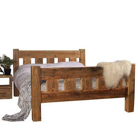 Beam Surrey Reclaimed Wood Bed and Bedside