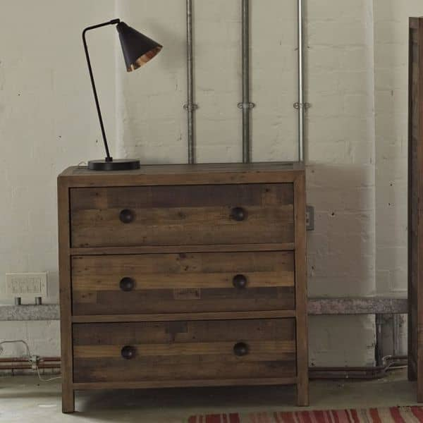 Standford Reclaimed Wood Medium Chest of Drawers with Lamp