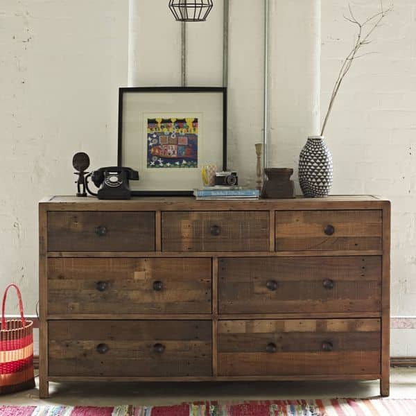 Standford Reclaimed Wood Large Chest of Drawers in Room