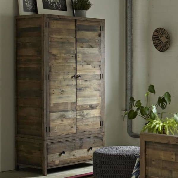 Standford Reclaimed Wooden Wardrobe in Bedroom