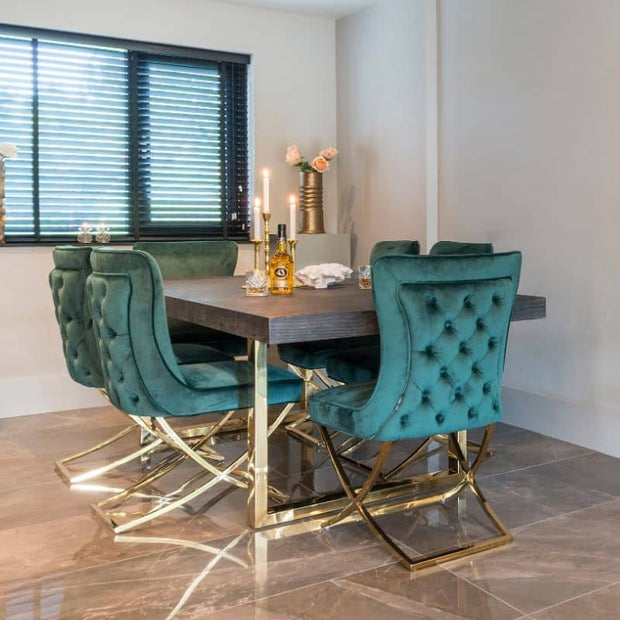 Blackbone Oak Dining Table and Gold Legs with Green Velvet Dining Chairs