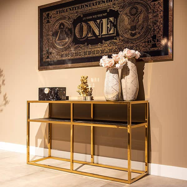 Blackbone Industrial Oak Console Table with Gold Frame