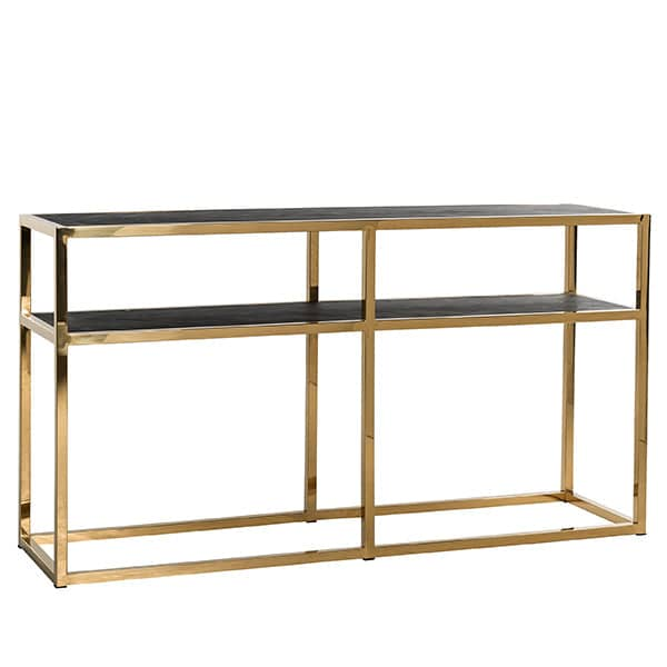 Blackbone Industrial Oak Console Table Gold Cutout
