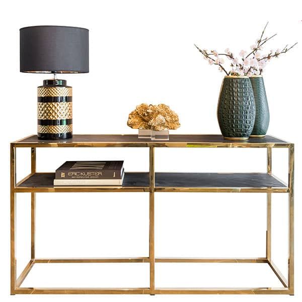 Blackbone Industrial Oak Console Table Gold