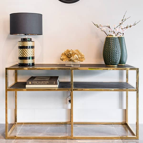 Blackbone Industrial Oak Console Table Gold in Room
