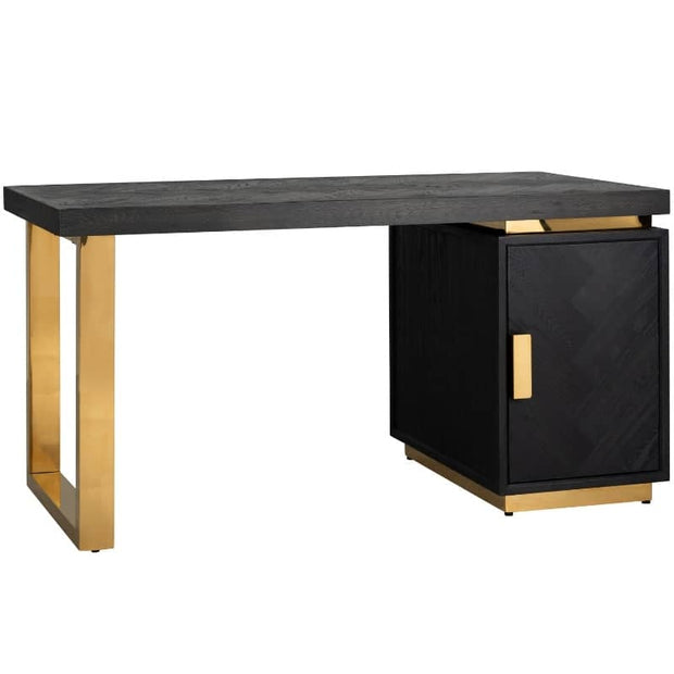 Cut out image of Blackbone Industrial oak desk with gold detail on white background