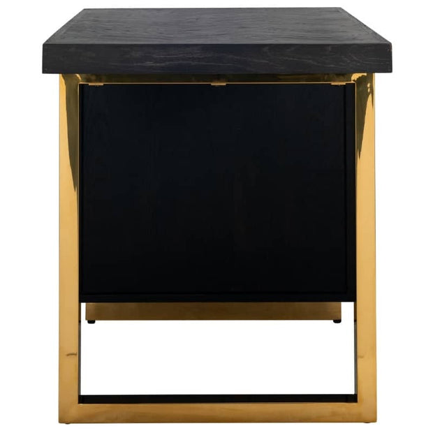 Cut out image of Blackbone Industrial Oak desk with gold detail, showing the short end of desk revealing gold legs joining at desktop.