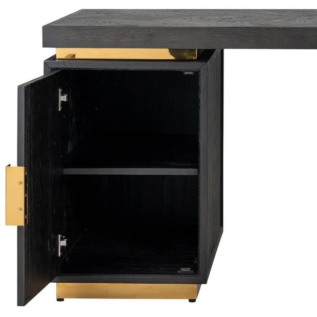 Cut out image of Blackbone Industrial oak desk with gold detail, with cupboard door open revealing H-bar shelf, on white background