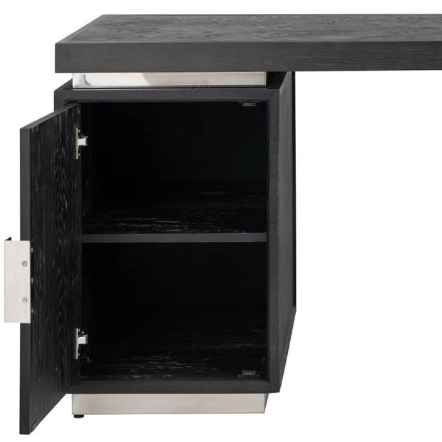 Cut out photograph of Blackbone industrial oak desk with silver detail, with cupboard door open revealing H-bar shelf, on a white background