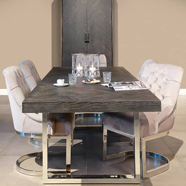 Blackbone Industrial Oak Extendable Dining Table Stainless Steel