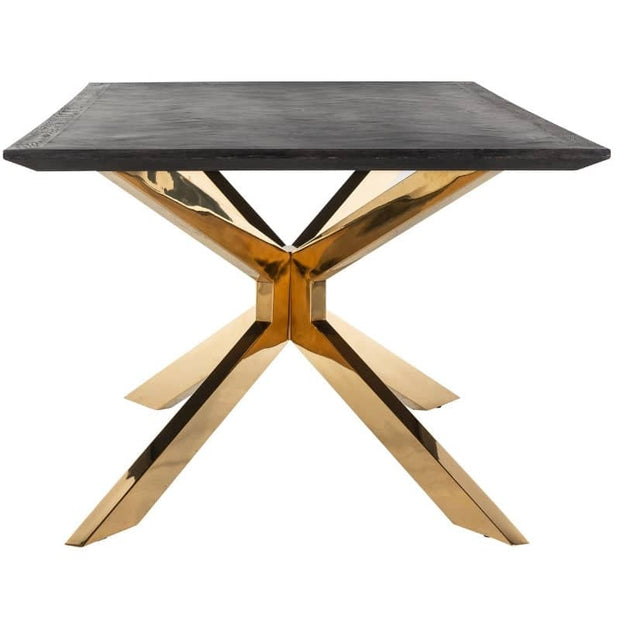 Cut out photograph of Blackbone industrial oak dining table with gold spider leg, on white background