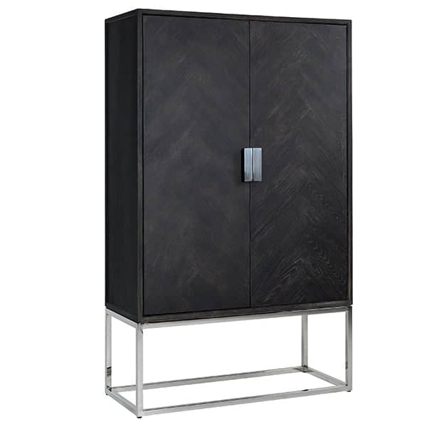 Blackbone Industrial Oak Drinks Cabinet Silver