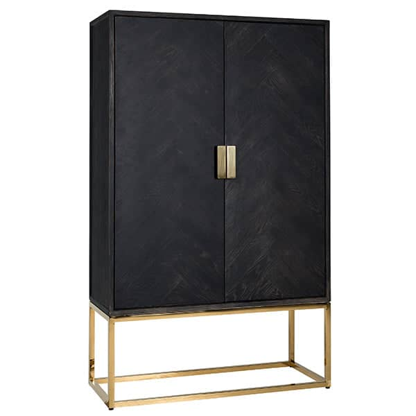 Blackbone Industrial Oak Drinks Cabinet Gold