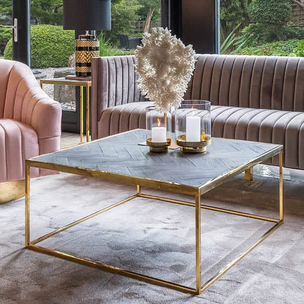 Blackbone Industrial Oak Square Coffee Table Gold