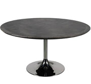 Blackbone Oak Round Dining Table with Black Top and Stainless Steel Leg