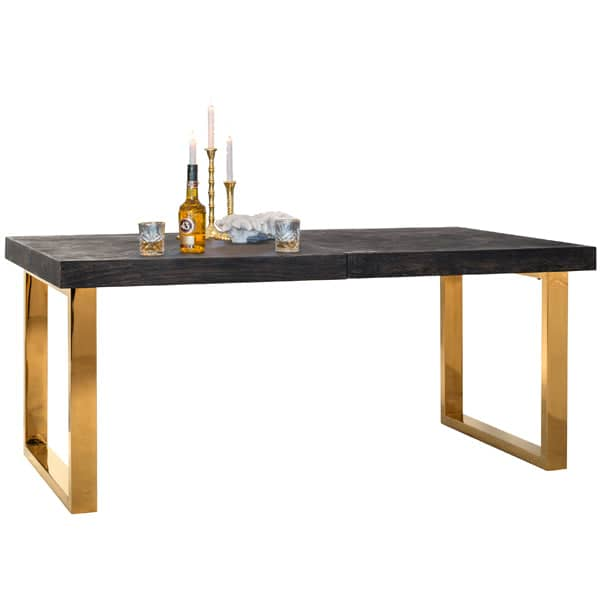 Blackbone Industrial Oak Extendable Dining Table Gold Cutout