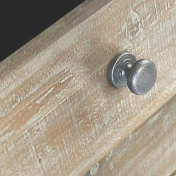 Close up of drawer and handle on Boston Reclaimed Wood 3-Drawer Side Table