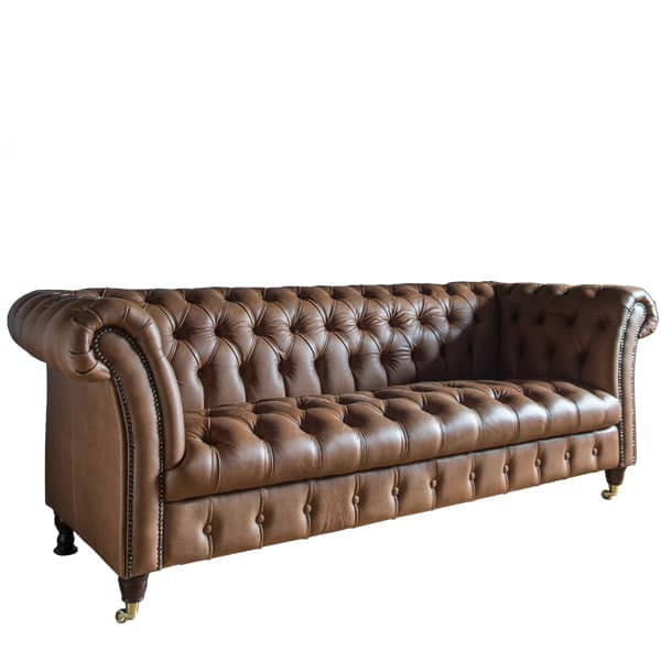 Charlie Tan Leather Chesterfield Sofa